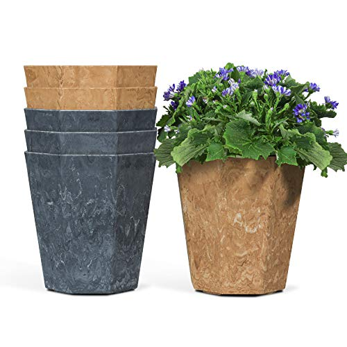 T4U Flower Pot Plastic 19CM Faux Clay Style Set of 6, Lozenge Shape Plant Pot Modern Decorative Gardening Planter Hexagonal Outdoor Indoor Use Container for All House Plants Herbs Seeding Nursery