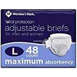 Member's Mark Total Protection Adult Briefs for Men & Women, Large (48 ct.) (Pack of 2)