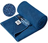 Heathyoga Non-Slip Hot Yoga Towel, Stickyfiber Non Slip Yoga Mat Towel with Silicone Grip & Free Spray Bottle, Microfiber Yoga Mat Towel Non Slip for Hot Yoga, Bikram, Pilates and Fitness