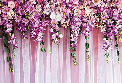 Fondos de Boda para fotografía Flor de Flores Borla Rosa Escenario Fiesta Retrato Fondos fotográficos Estudio fotográfico A5 9x6ft / 2.7x1.8m