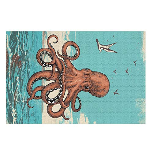 Octopus Puzzle for Adults 200/300/500/1000 Pieces Large Puzzle Set Educational Gift for Adults and Children white 300pieces
