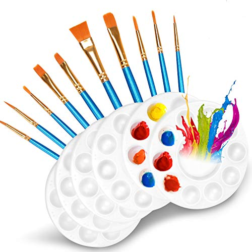 DOMMARE 10 Pcs Paint Brushes Set with 6 Pcs Paint Palettes Trays Plastic for Kids Acrylic DIY Craft Art Painting Round Pallets(16 Pack) …