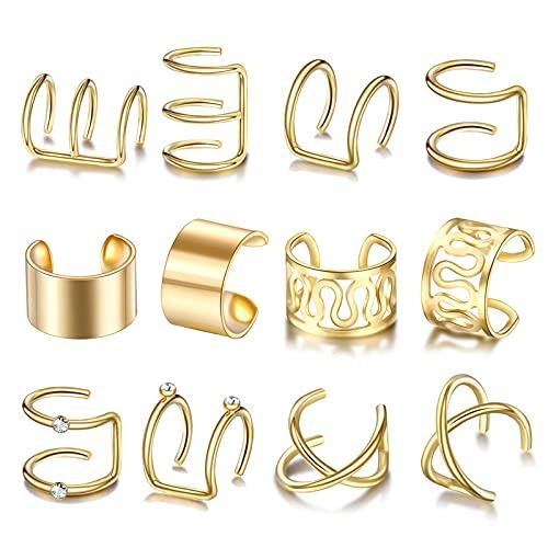 QQWA Juego de 12 pares de aretes de acero para cartílago de hélice, pendientes de cartílago no perforados, para mujer, suministros (oro)
