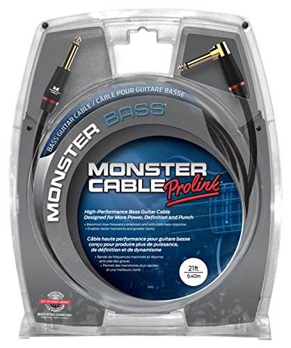 Monster Cable Monster Bass 1/4 Inch Angled to Straight Instrument Cable 21 ft.