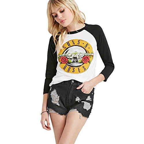 Uranus Mujer Camiseta Rock Guns N Roses Bullet Camiseta de Algodón de Manga Larga Tops