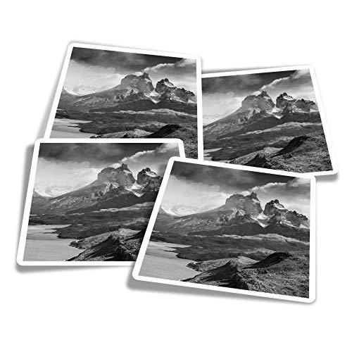 Adesivi in vinile (set di 4) 10 cm – BW – Lake Pehoe Patagonia Chile Fun Decalcomanie per computer portatili, tablet, bagagli, album di scarti e frigoriferi #39231