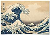 Panorama Lienzo Hokusai La Gran Ola de Kanagawa 70x50cm - Impreso en Lienzo Bastidor - Cuadros Decoración Salón - Cuadros Vintage - Cuadros Lienzos Decorativos - Cuadro en Lienzo