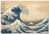 Panorama Póster Hokusai La Gran Ola de Kanagawa 100x70cm - Impreso en Papel 250gr -Póster Pared - Cuadros Decoración Salón - Cuadros Vintage -Póster Decorativos- Laminas Decorativas