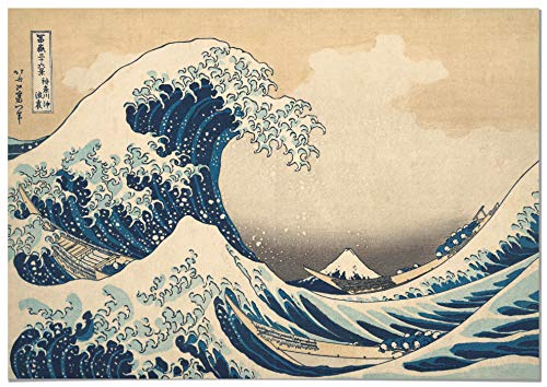 Panorama Póster Hokusai La Gran Ola de Kanagawa 70x50cm - Impreso en Papel 250gr -Póster Pared - Cuadros Decoración Salón - Cuadros Vintage -Póster Decorativos- Laminas Decorativas