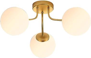 Aozu Semi Flush Mount Ceiling Light Mid Century Modern Sputnik Chandelier Lighting Fixtures Frosted Glass Globe Shade Ceiling