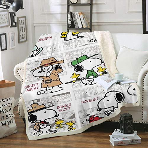 BLAMARIA Tagesdecken Cartoon Anime Snoopy Muster Sherpa Werfen Doppeldecke Erwachsene Kinder Warme Freizeit Couch Stuhl Weiche Decke (E) 150 * 200 cm