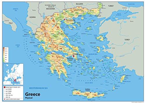 Physische Karte von Griechenland, laminiertes Papier [GA] A0 Size 84.1 x 118.9 cm