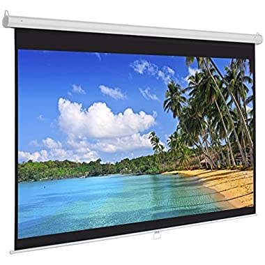 Best Choice Products Manual Projector Projection Screen Pull Down Screen, 119 L