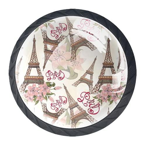 Manijas para cajones Perillas para gabinetes Perillas Redondas Paquete de 4 para armario, cajón, cómoda, cómoda, etc.. Patrón de flores Torre Eiffel París Londres
