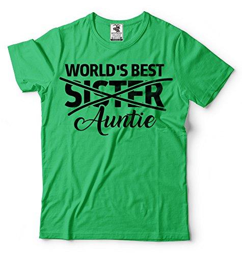 Silk Road Tees El Regalo del bebé Announcet de Las Mujeres para la Hermana de los Mundos La Mejor tía Camiseta Nueva tía tee Small Verde