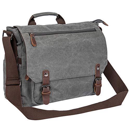 Vintage Canvas Messenger Bag School Shoulder Bag for 13.3-15inch Laptop Business Briefcase