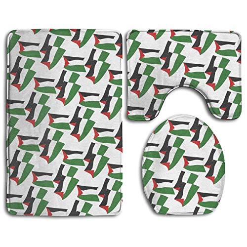 N/A Badkamermatten Set 3 Stuks Palestijnse Vlag Mode Extra Zachte Badtapijten (20