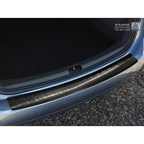 Avisa Protection de seuil arrière inox noir compatible avec Volkswagen Touran II 2010-2015 'Ribs'