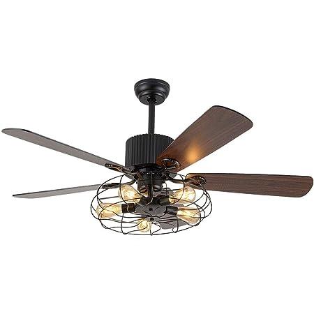 OUKANING Ventilateur de Plafond avec Eclairage et Télécommande Industriel de 52 pouces Plafonnier Semi-Affleurant Vintage Retro Chandelier 5 Lights Fan pour Chambre ou Salle à Manger