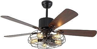 OUKANING Ventilateur de Plafond avec Eclairage et Télécommande Industriel de 52 pouces Plafonnier Semi-Affleurant Vintage ...