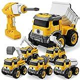 GizmoVine Excavadora Juguete,Control Remoto Tractor Desmontar y Ensamblarde Vehículo Construcciones Juguete , 6 en 1 Juguetes Playa niños para Niño y Niña de 3 Años +