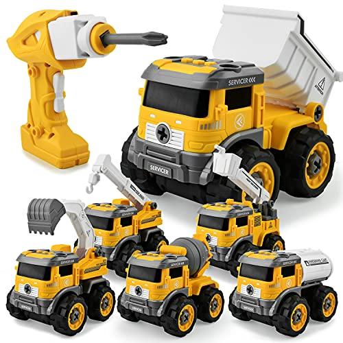 GizmoVine Bagger Spielzeug ,6 In 1 Ferngesteuertes Montage Baufahrzeug Autos,Sandkasten Spielzeug ,DIY Spielzeugauto mit Bohrmaschine,Licht und Sounds für Jungen & Mädchen 3 4 5 6 7 8