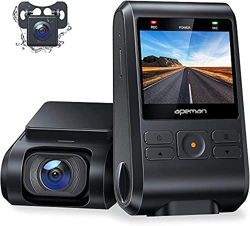 APEMAN Dual Dash Cam C550, 1080P Front and Rear Hidden Car Driving Recorder, IPS Screen, Night...
