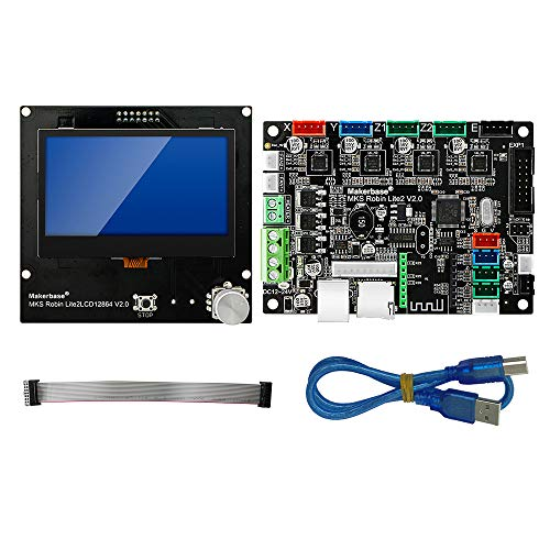Sunhokey 3D Printer Motherboard STM32 MKS Robin Lite2 Motherboard with LCD Display Closed Source Software (Black-MKS Robin Lite2 Kit)