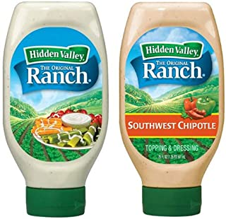 Hidden Valley Dressing Pack – 1 Easy Squeeze Original Ranch Salad Dressing & Topping & 1 Easy Squeeze Southwest Chipotle Ranch Salad Dressing & Topping (2 Pack, 40 oz Total) – Gluten-Free &...