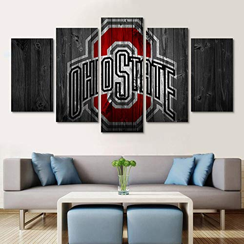 5 Piece Wall Art Painting Wall Art Modern Painting Ohio State Logo Canvas Painting Print Poster Room Decor Frame 5 Pieces Modular Wall Paintings-zlh30