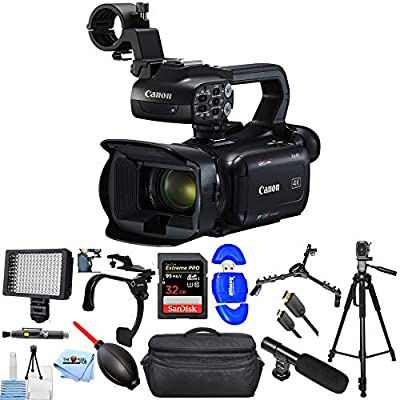 Canon XA40 Professional UHD 4K Camcorder 3666C002 PRO Bundle with 32GB SD, LED Light, X-Large Gadget Bag, Shoulder Stabilizer, Tripod and Much More by Canonbh