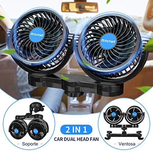 Ventilador USB Coche Silencioso 12V, Doble Cabeza 360° Rotación, 3 Velocidades, 2 Soportes para la Instalacion en Ventana y en Asiento Trasero, Coche, Camping, Camión, Furgoneta