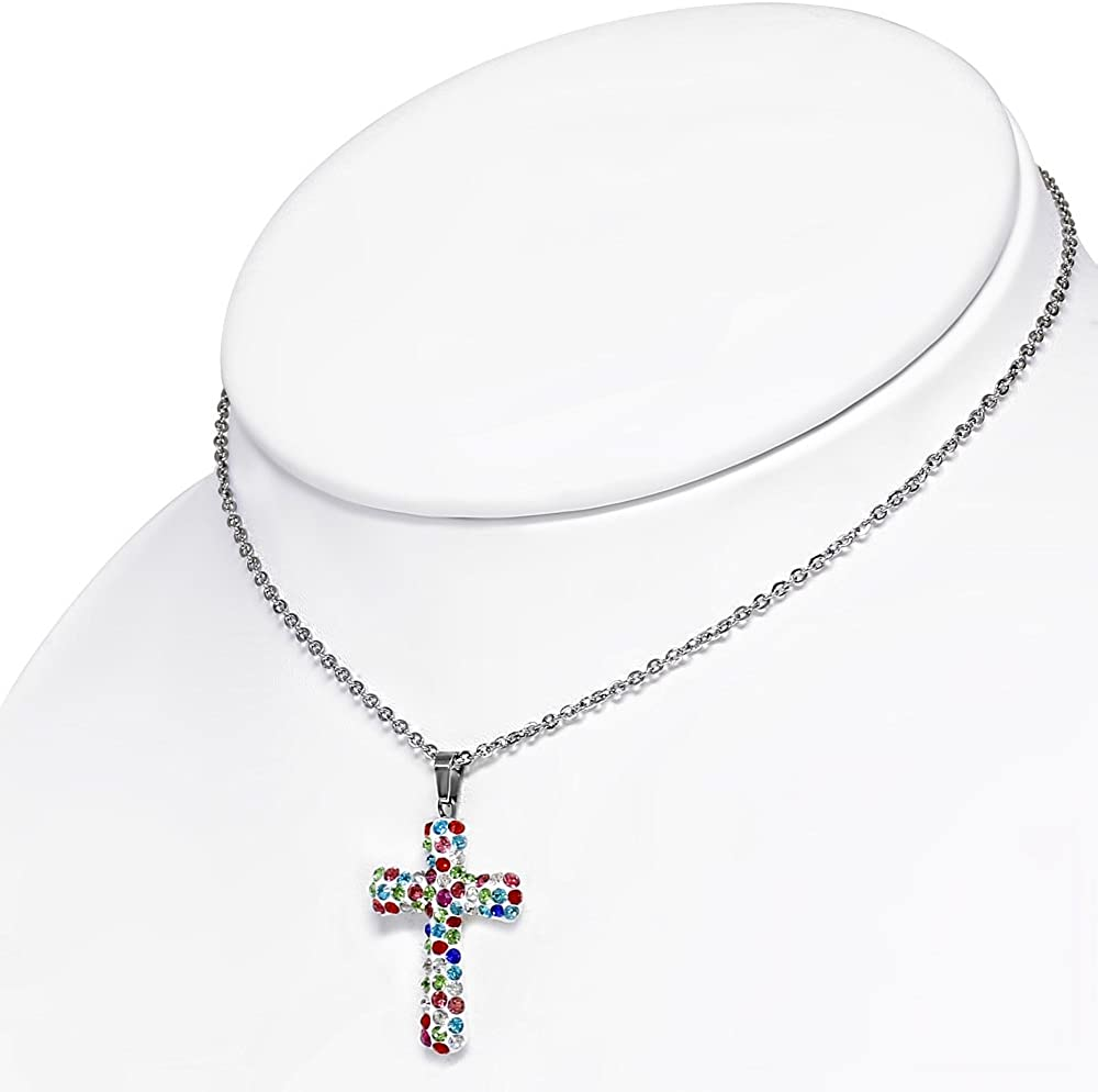 18 My Daily Styles Fashion Alloy Multicolor CZ Religious Cross Pendant Necklace