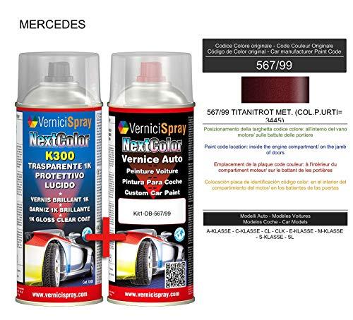 Kit Spray Pintura Coche Aerosol 567/99 TITANITROT MET. (COL.P.URTI= 3445) - Kit de retoque de pintura carrocería en spray 400 ml producido por VerniciSpray