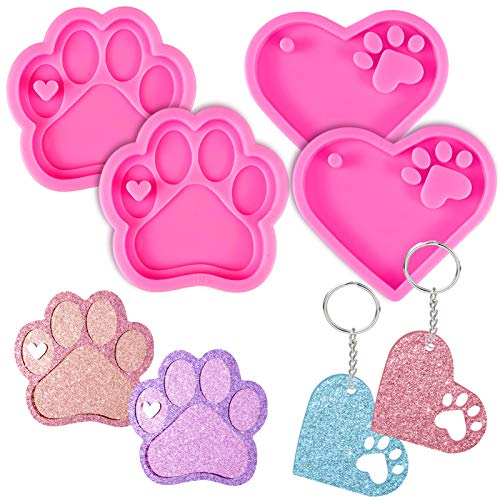 Mity rain 4 Pcs Love Paw Print Keychain Silicone Resin Molds Heart Dog Paw Candy Fondant Mold with 20 Pcs Keyrings for DIY Mother's Day Valentine's Day Gifts, Dog Tag Polymer Clay, Cake Decorating