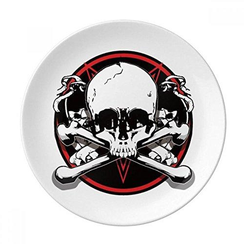 DIYthinker Skeleton Piraten-Dekoration Muster Dekorative Porzellan Dessertteller 8-Zoll-Dinner Home Geschenk 21cm Diameter Mehrfarbig