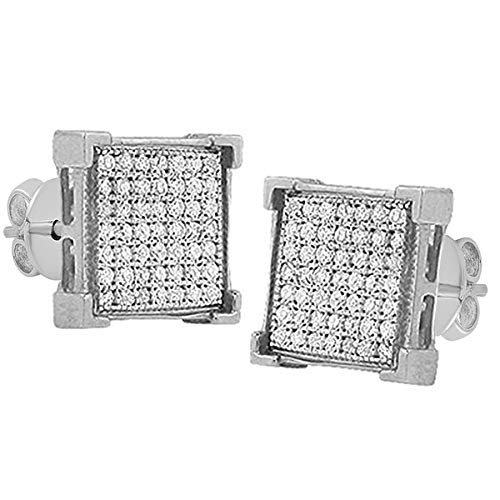 Dazzlingrock Collection 0.04 Carat (ctw) White Diamond V-Prong Mens Hip Hop Iced Stud Earrings, Sterling Silver (0.04 Ct Diamond Fashion)