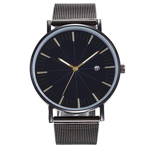 ZSDGY Meridian Alloy Mesh Belt Calendar Watch, Reloj de Pulsera Casual para Hombres y Mujeres B