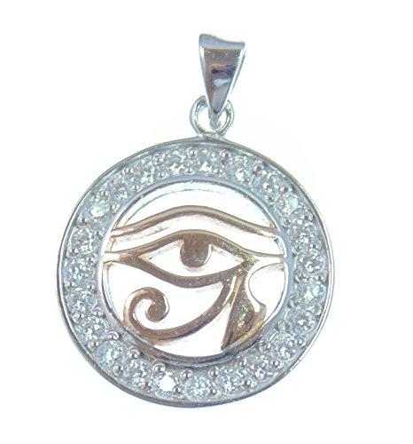 All-Schützendes Auge,Silber Anhänger, Horus Auge, Symbol für Schutz vor negativen Energien, aus 925 Sterling Silber mit TruColor Kristallen, 18 Karat Rose vergoldet,Versand innerhalb 24 Stunden !!!