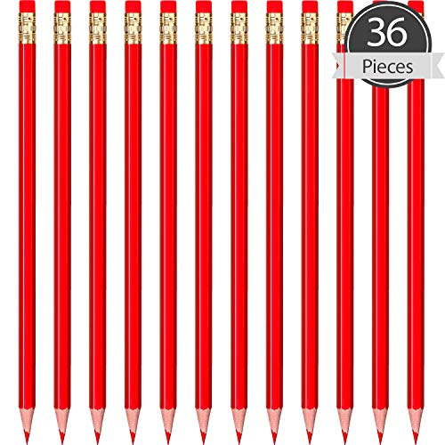 36 Pieces Checking Pencils Red/Blue Erasable Pencils Pre-Sharpened #2 HB with Erasable Tops for Checking Map Coloring Tests Grading (Red)