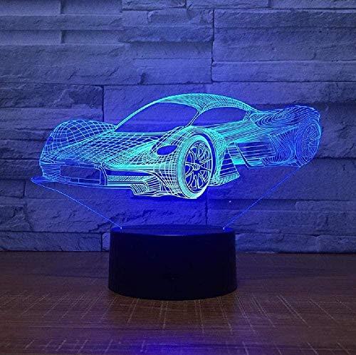 Luz de noche 3D para con lámpara de decoración con LED Cool Sports Car Forma 3D Luz de noche USB Botón táctil Lámpara de mesa de coche Cambio Ambiente Lámpara de Luz Regalo de Cumpleaños para Niños