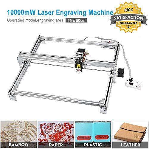 Kacsoo CNC Laserengraver Graviermaschine DIY Kit - 10000mW Desktop Router Holzschnitzerei Gravur Schneidemaschine, 12 V USB Drucker Logo Bild Kennzeichnung Drucker für Leder Holz Kunststoff