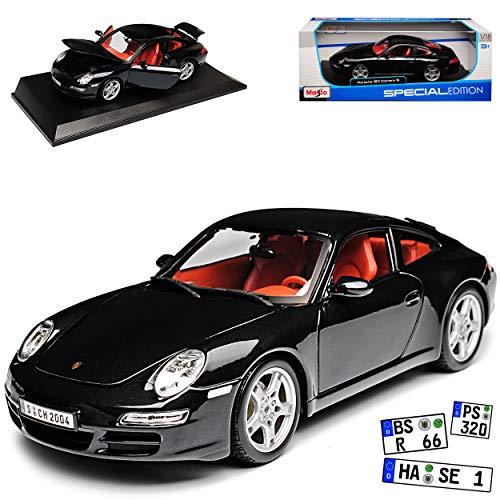 Maisto Porsche 911 997 Carrera S Coupe Schwarz 2004-2012 1/18 Modell Auto mit individiuellem Wunschkennzeichen