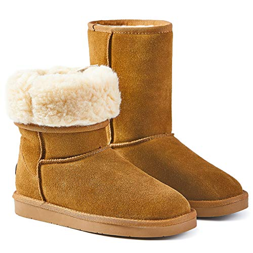 Women's Classic Snow Boots Mid-Calf Bootie Fur Lined Warm Winter Shoes (7, Chestnut)
