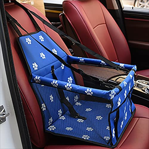 Bolsa de coche para mascotas de perro impermeable cesta plegable hamaca bolsa para mascotas pequeño gato y perro red de viaje bolsa pata azul