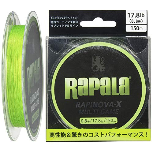 Rapala(ラパラ) PEライン ラピノヴァX マルチゲーム 150m 0.8号 17.8lb 4本編み ライムグリーン RLX150M08LG