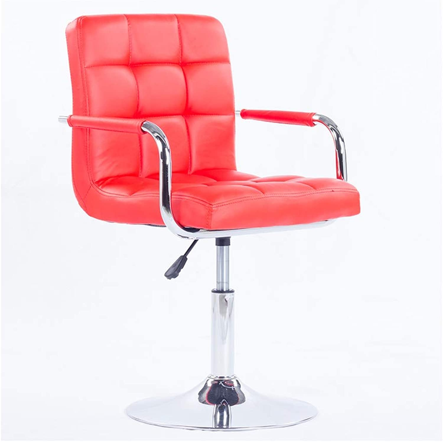 A+ Boss Stool Home redating Back Bar Chair High Elastic Sponge Filled Computer Chair PU Leather 9 color 41cm  82-94cm (color   Red)