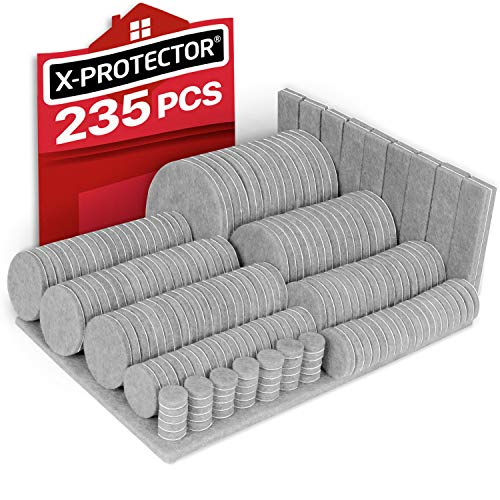 Felt Furniture Pads X-PROTECTOR - 235 Premium Floor Protector Felt Pads Grey - Huge Quantity Chair Felts Pads for Furniture Feet - Best Furniture Pads for Hardwood Floors - Protect Your Wood Floors!