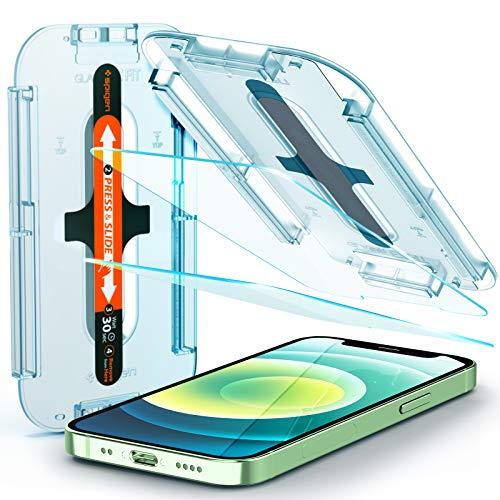 Spigen Glas.tR EZ Fit Panzerglas kompatibel mit iPhone 12 Mini, 2 Stück, Kratzfest, 9H Festigkeit Schutzfolie