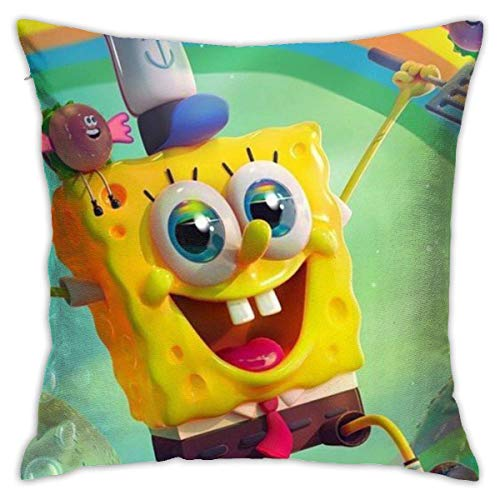N \ A Fundas de almohada de Bob Esponja y arco iris, 45,7 x 45,7 cm, forma cuadrada, funda de cojín decorativa para sofá